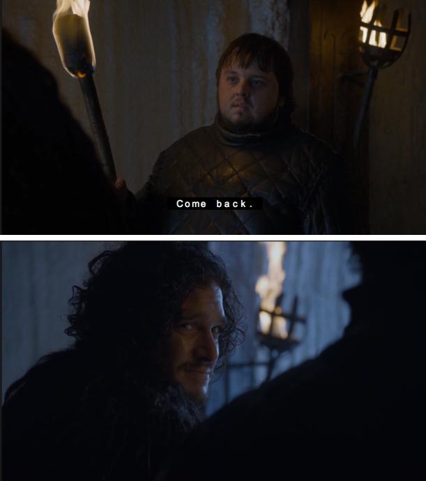 Samwell Tarly and Jon Snow bromance