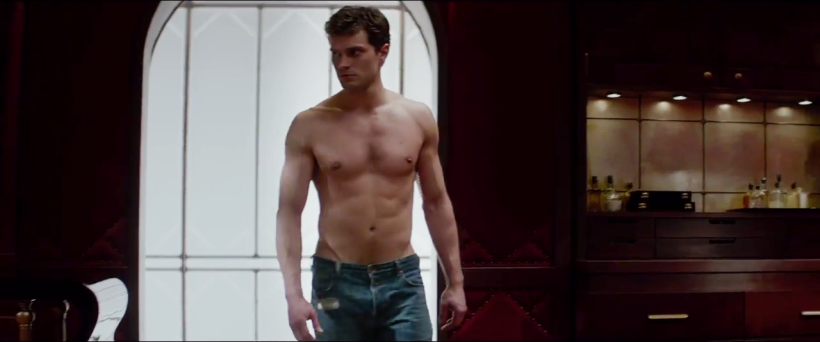 Fifty Shades of Grey Trailer Low rise jeans red room of pain