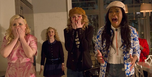 Chanel #5 (Abigail Breslin, L) and new Sorority Pledges Grace (Skyler Samuels, C) and Zayday (Keke Palmer, R).